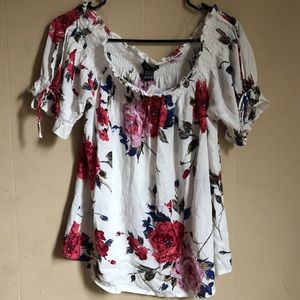 NWT TIMING White Floral Off Shoulder Top